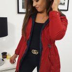Červená dvojstranná bunda s kapucňou MAYCA (ty0825)
