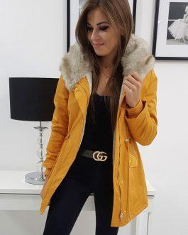 Trendová camelová dámska bunda MOREE s kapucňou (ty0885)