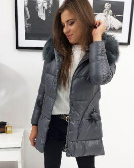Trendová zimná dámska bunda ELLE tmavosivej farby (ty0907)