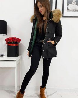 Čierna obojstranná bunda OFELIA s kapucňou (ty0915)