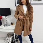 Jedinečný dámsky camelový kabát STREET s kapucňou (ny0263)