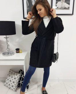 Pohodlný dámsky kabát v čiernom prevedení STREET (ny0265)