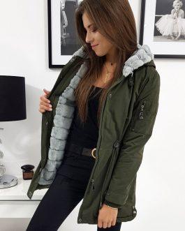 Zimná dámska bunda CARMEN olivovej farby (ty0940)