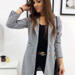 Sivý jednoradový dámsky kabát STREET LIKE (ny0250)