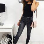 Trendové čierne džínsy ESTETICO (uy0197)