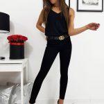 Čierne dámske džínsy RIXON (uy0202)
