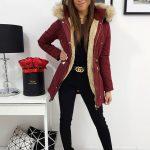 Bordová zimná bunda VENUS s kapucňou (ty0969)