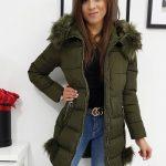 Zimná prešívaná olivovo-zelená bunda KATEE pre dámy (ty0979)