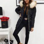 Štýlová dámska bunda čiernej farby MESS (ty0985)