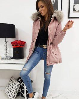 Originálna zimná dámska bunda LOVELLY ružovej farby (ty0411)