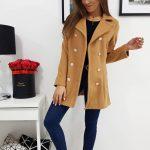 Trendový camelový kabát pre dámy ELIZE (ny0271)