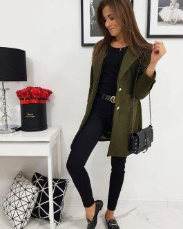 Olivovo-zelený štýlový dámsky kabát STREET LIKE (ny0281)