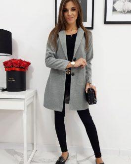 Jednoradový svetlo-sivý kabát LENE pre dámy (ny0283)