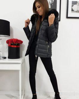 Pohodlná čierna dámska bunda na zimu SARA (ty1003)