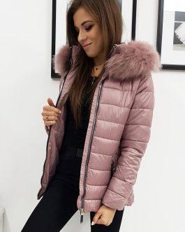 Trendová zimná bunda SARA s kapucňou ružovej farby (ty1005)