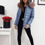 Modrá štýlová dámska bunda SARA na zimu (ty1006)
