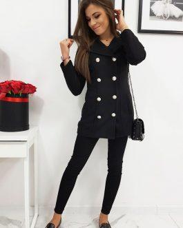 Čierny dámsky kabát ELIZE v dvojradovom prevedení (ny0295)