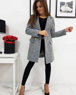 Svetlo-sivý dvojradový dámsky kabát BLANCA (ny0296)