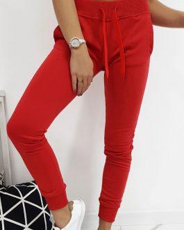 Dámske červené teplákové nohavice (ux1884)