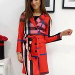 Dámsky červený károvaný plášť BURBERRY (ny0234)