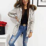 Dámska sivá zimná bunda LOVELLY s kožušinovou kapucňou (ty1024)