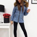 Modrá štýlová dámska bunda VIP na zimu (ty0415)