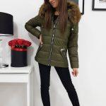 Originálna dámska bunda VIP s kapucňou olivovej farby (ty0416)