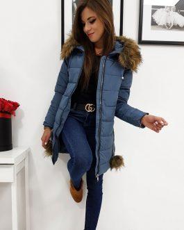 Jedinečná modrá zimná bunda STELLA s kapucňou (ty0276)