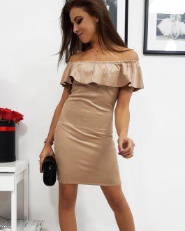 Dámske príťažlivé šaty CAMILLE v béžovej farbe (ey0787)
