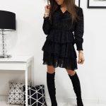 Čierne šaty ELIZABETH s volánmi (ey1002)