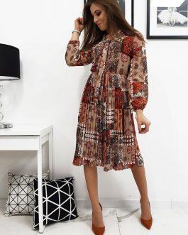 Dámske elegantné šaty LACE v cappuccino farbe (ey1010)