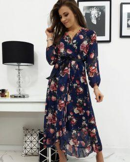 Krásne kvetované dámske šaty DALIA granátovej farby (ey1023)