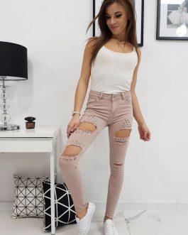 Dámske ružové džínsové nohavice YETT (uy0182)