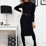 Čierne pletené šaty STELLA pre dámy (ey1031)