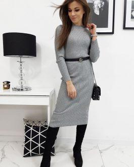 Dámske pletené svetlo-sivé šaty  STELLA (ey1034)