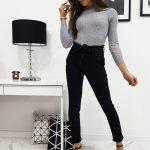 Moderné čierne dámske džínsy LUI s opaskom (uy0213)