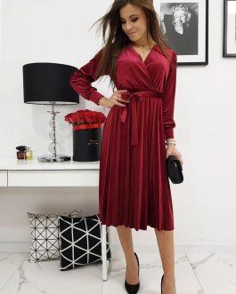 Elegantné dámske šaty EFECTO bordovej farby (ey1040)