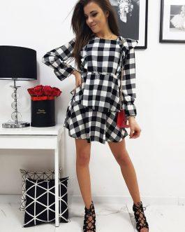 Kárované bielo-čierne dámske šaty LUISA (ey1050)