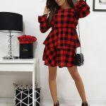 Červeno-čierne kárované šaty LUISA (ey1051)