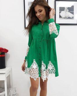 Výrazné zelené šaty PAULA s bielou čipkou (ey0735)