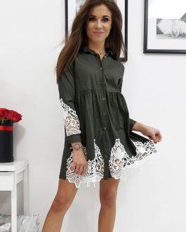 Dámske košeľové šaty PAULA zdobené čipkou (ey0741)