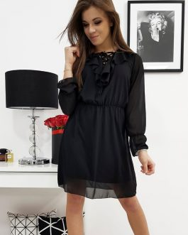 Dámske elegantné šaty ELZA čiernej farby (ey0678)