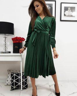 Príťažlivé olivovo-zelené dámske šaty EFECTO (ey1055)