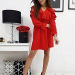 Červené dámske šaty CELINE (ey0597)