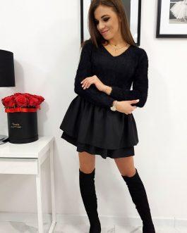 Čierny dámsky sveter ELLI v trendy prevedení (my0580)