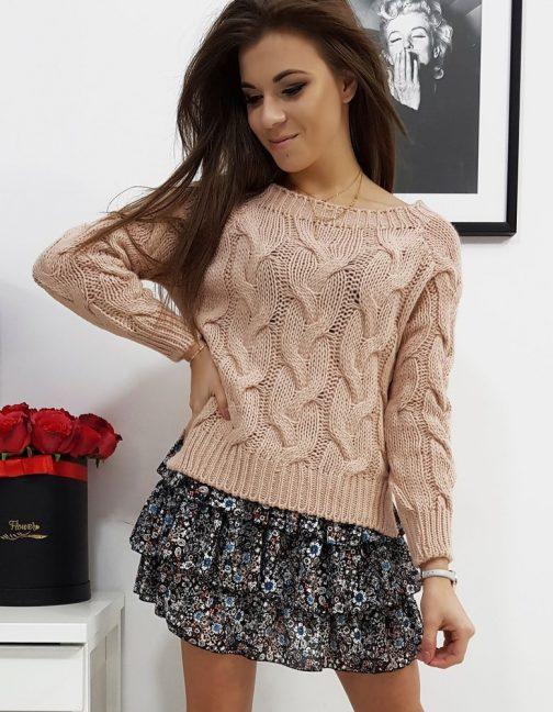 Štýlový ružový dámsky sveter LISS (my0686)