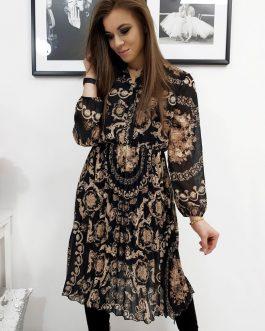 Krásne plisované šaty OFELIA so vzorom (ey1062)