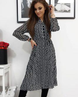 Plisované čierne šaty OFELIA s dlhým rukávom (ey1070)