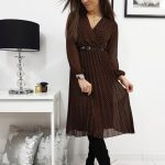 Plisované dámske čierne šaty LILIE (ey1071)