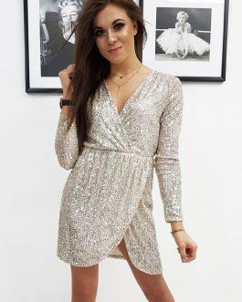 Krásne béžové dámske šaty VIRGINIA (ey1076)
